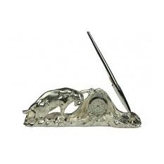 Настольные набор с часами и ручкой Леопард (Brunel)