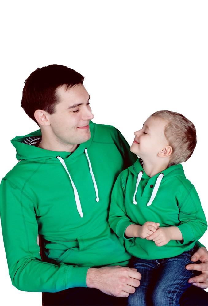 Комплект зеленых толстовок Зеландия для папы и ребенка