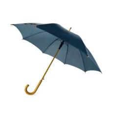Полуавтоматический синий зонт с деревянной ручкой