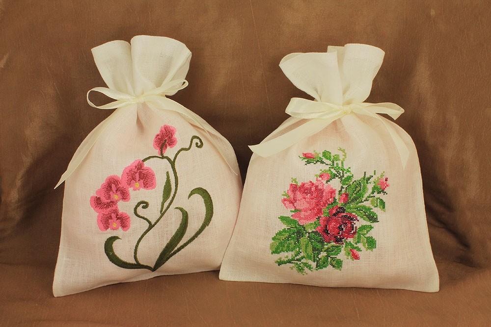 Набор льняных мешочков В цвету