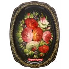 Поднос с художественной росписью Букет на черном фоне