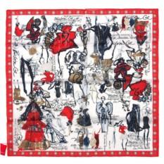 Женский платок с красной каймой Christian Lacroix