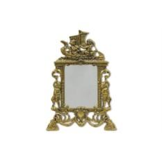 Золотистое бронзовое настольное зеркало Ладья