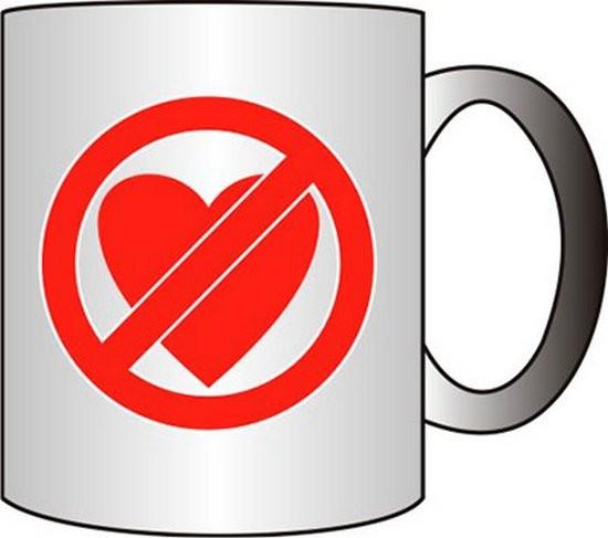 Прикольная кружка Знак запрета на сердце