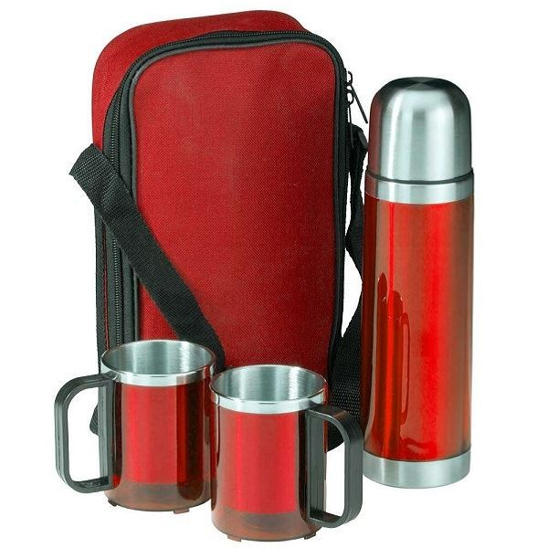 Набор Kemi: термофляга и 2 кружки в красном чехле