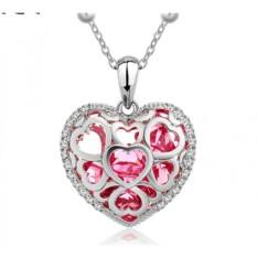 Кулон с розовыми чешскими кристаллами «Каменное сердце»