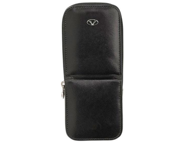Черный кожаный чехол для 3 ручек Visconti