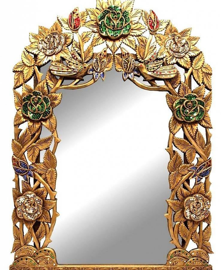 Зеркало золотое, с цветами