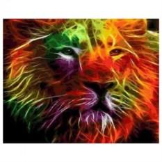 Картина-раскраска по номерам Неоновый лев