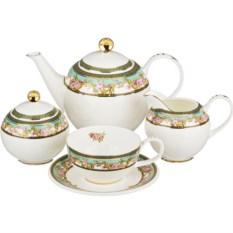 Бело-зеленый чайный сервиз на 6 персон Lefard