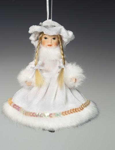 Кукла на веревочке Снегурочка, в шляпке и белом платье
