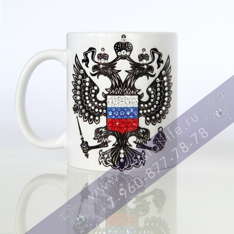 Бокал Российский герб с кристаллами Swarovski