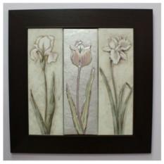 Декоративное панно в деревянной рамке Полевые цветы
