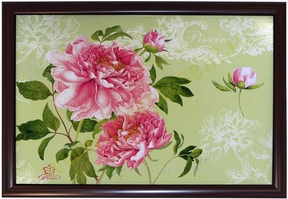 Поднос на подушке Розовые пионы