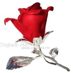 Красная роза из фарфора с посеребрением