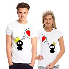Парные футболки Человечек с короной