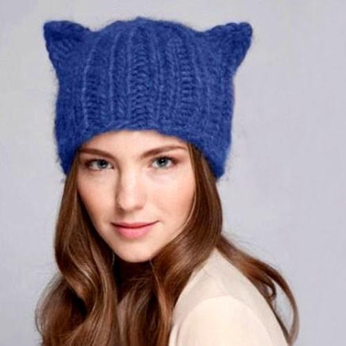 Шапка Cat ears (синяя)