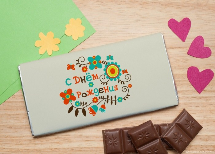 Шоколадная открытка Яркое поздравление