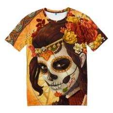 Мужская 3D-футболка Девушка. Сахарный череп