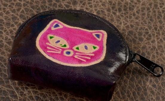 Монетница Socotra (Черный, розовый; кот; тип 1; кожа)