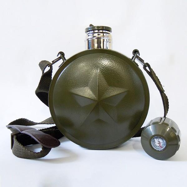 Армейская фляга-термос с компасом