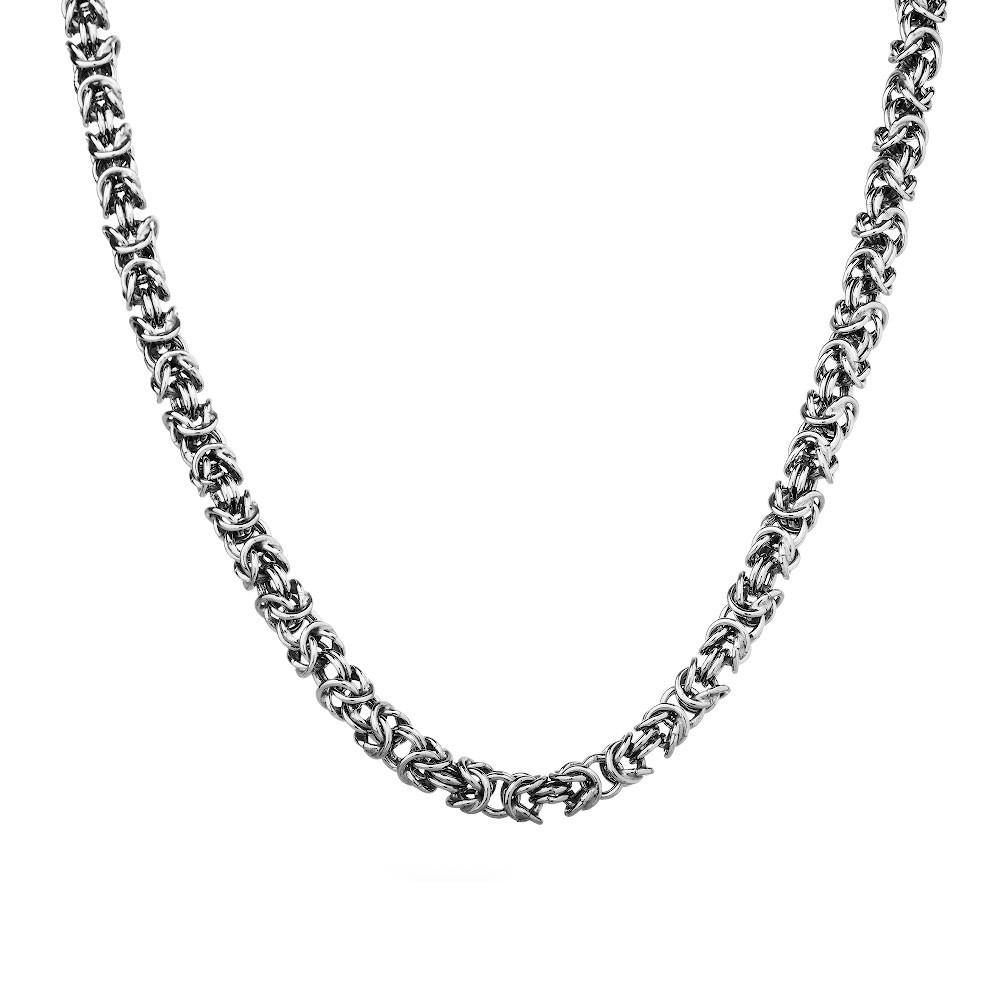 Цепь из родированного серебра плетения «Бизантина овальная»