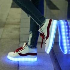 Белые светящиеся LED кроссовки с красной полоской