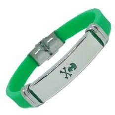 Зеленый каучуковый браслет Череп