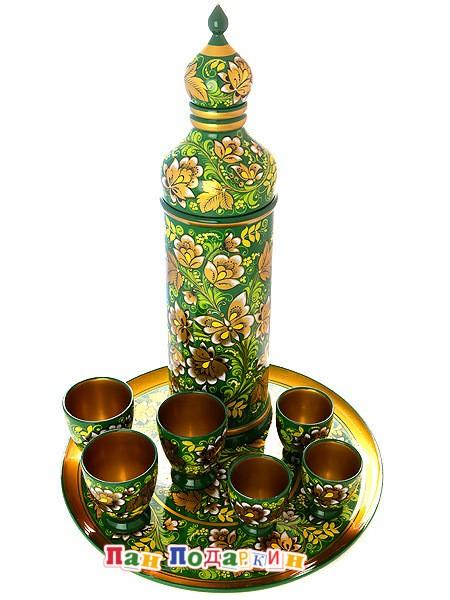 Набор для вина из 8 предметов Кудрина на зеленом фоне
