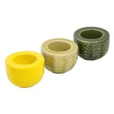 Набор подсвечников из 3 штук (цвет: зеленый, желтый)