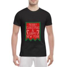 Черная мужская футболка Merry Christmas