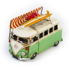 Ретро-модель Бело-зеленый автобус с фоторамкой