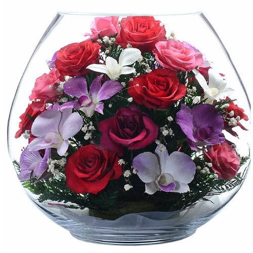 Цветочная композиция Танец роз и орхидей