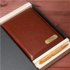 Именной набор из кожаного ежедневника с гравировкой и ручкой