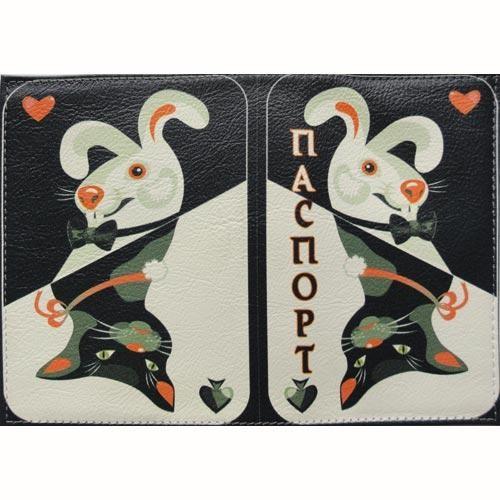 Обложка кожаная на паспорт Кролик \ Кот