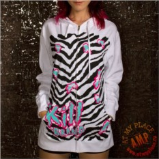 Белая толстовка с капюшоном Zebra - Kill Brand