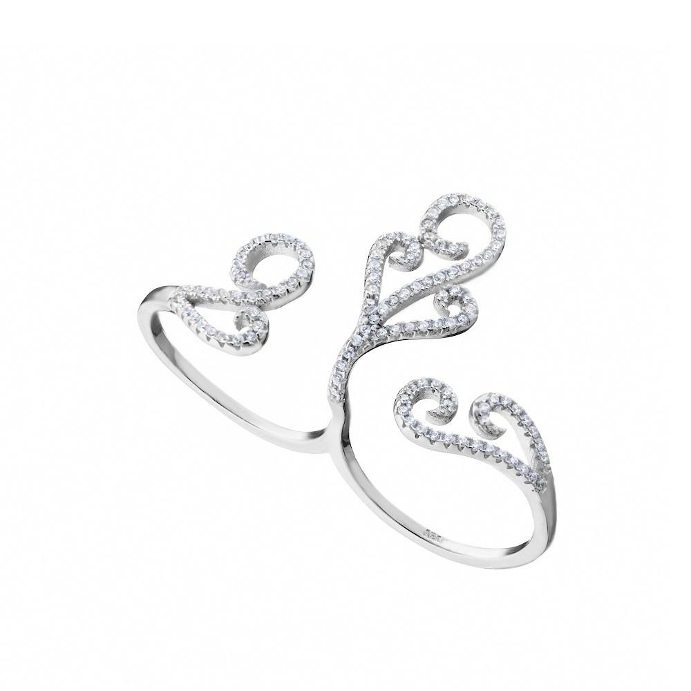 Резное серебряное кольцо на два пальца с фианитами