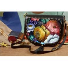Женская сумка-седло с принтом Цветы Хохломы Elole Design