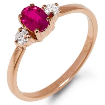 Кольцо из красного золота с бриллиантом и рубином