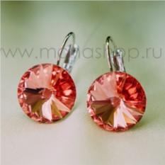 Серьги «Чародейка» с оранжевыми кристаллами Сваровски