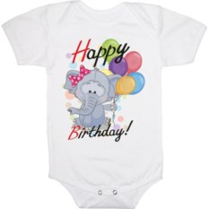 Детское боди Happy birthday. Слон