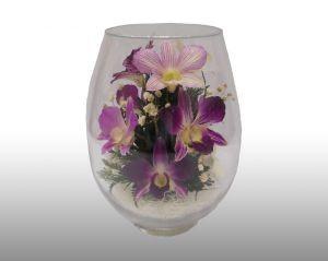 Цветы в стекле. Натуральные орхидеи. Размер: h-19 d-12см