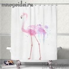 Шторка для ванной комнаты Розовый фламинго