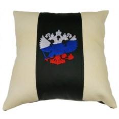 Декоративная подушка из экокожи Герб – триколор