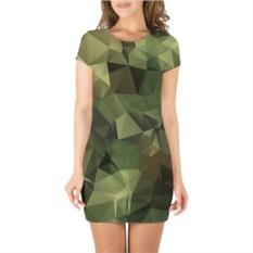 Платье с 3D принтом с короткими рукавами Камуфляж