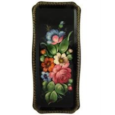 Поднос Жостово с росписью Лесные цветы на черном фоне