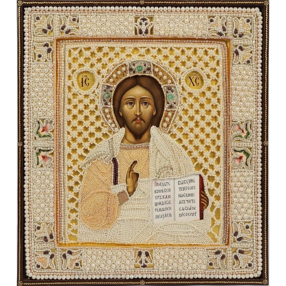 Икона с жемчугом Спаситель