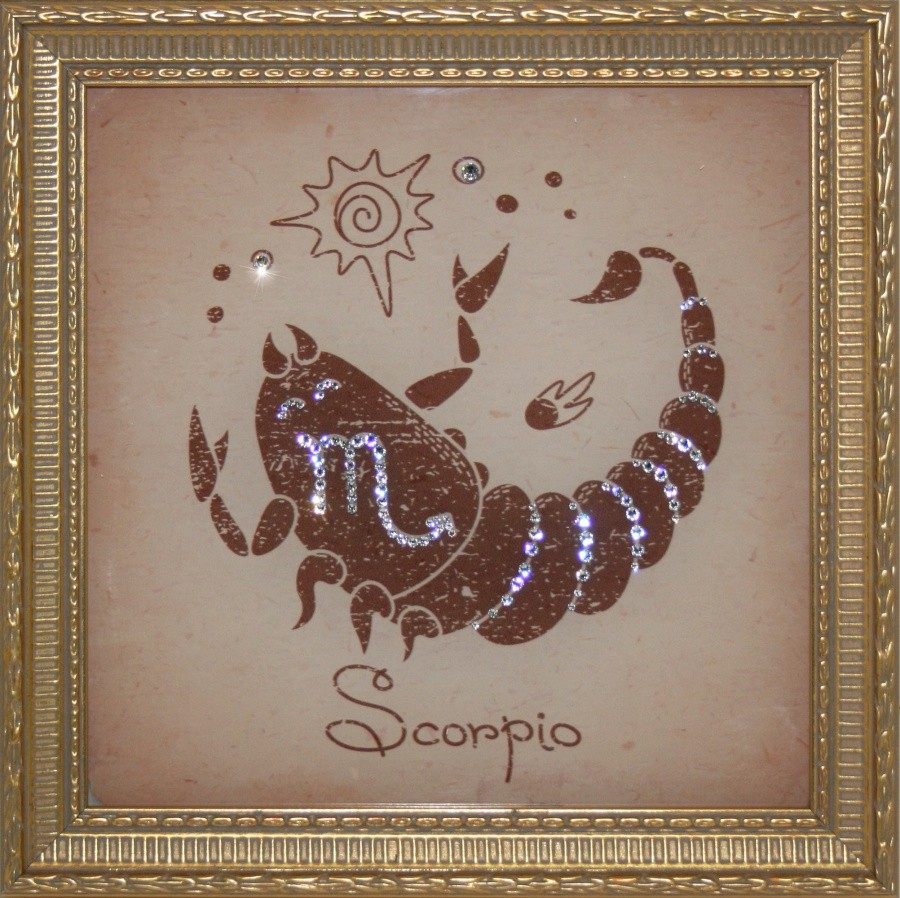 Картина с кристаллами Swarovski Скорпион