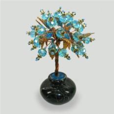 Дерево семьи из топаза в вазочке из оникса