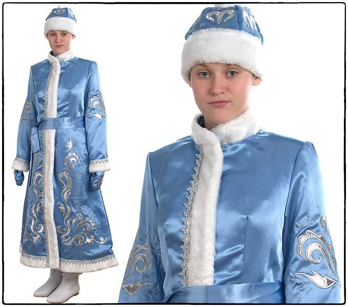 Костюм Снегурочка, длинная, приталенная (креп-сатин с вышивкой)